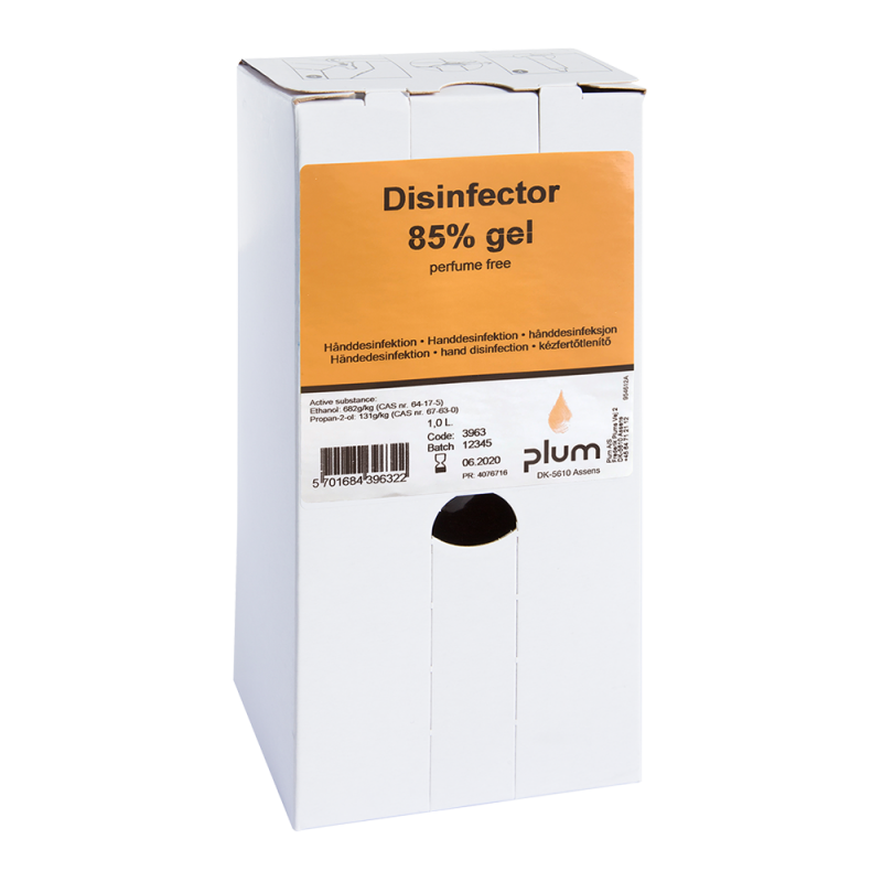 Plum Disinfector 85% - 1000 ml Bag-in-Box - wirksames viruzides Hände-Desinfektionsmittel hygienische Handdesinfektion Desinfektion ( Viruzid ) Covid-19